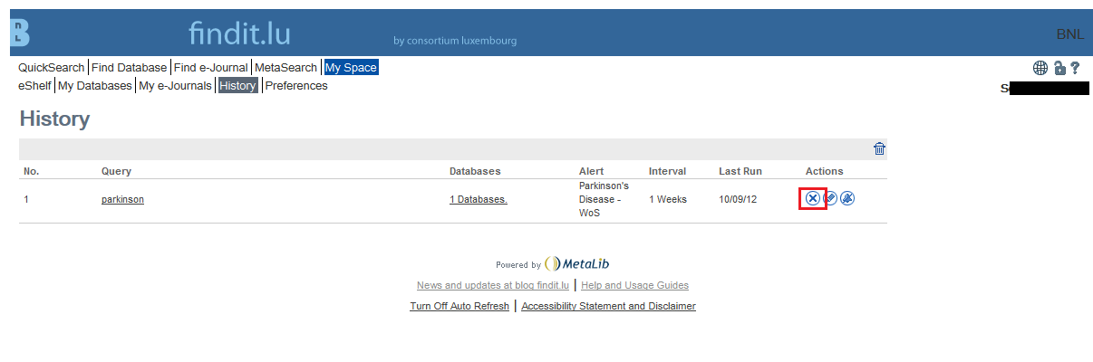 Old search alert at findit.lu
