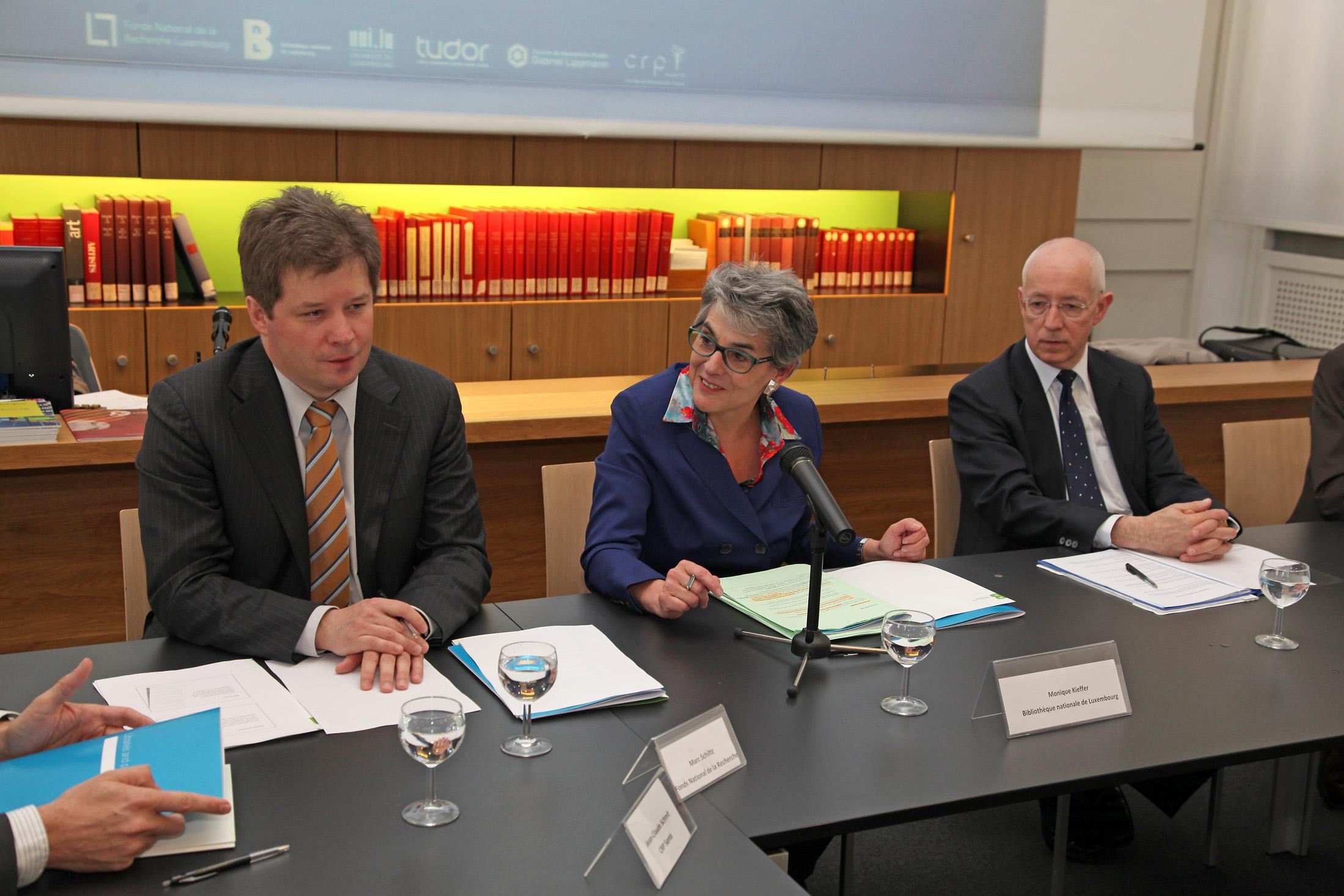 Marc Schiltz (FnR), Monique Kieffer (BnL), Dr. Ludwig Neyses (Université)