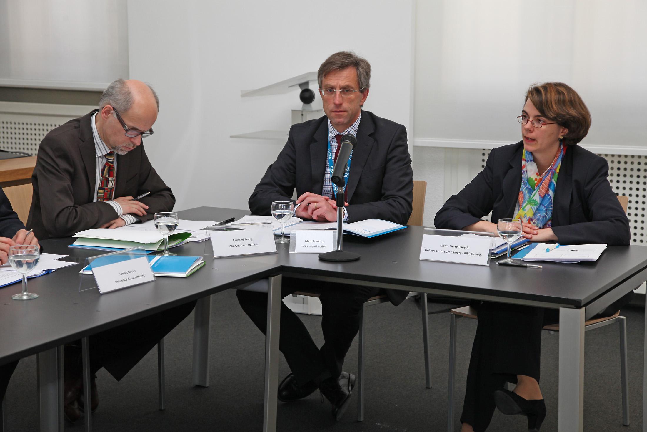 Fernand Reinig (CRP G. Lippmann), Marc Lemmer (CRP H. Tudor), Marie-Pierre Pausch (Université)