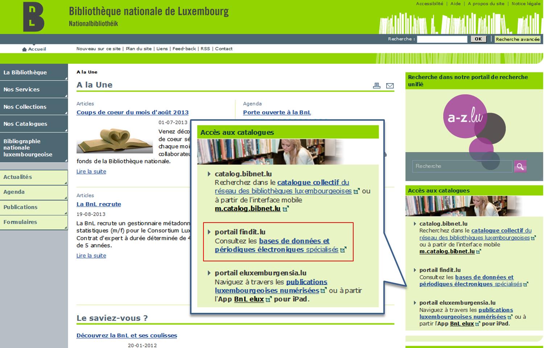 Site web Bibliothèque nationale de Luxembourg